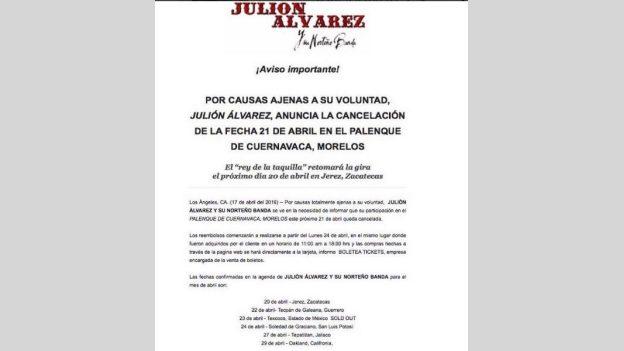 Julión Álvarez y su Norteño Banda cancelan presentación