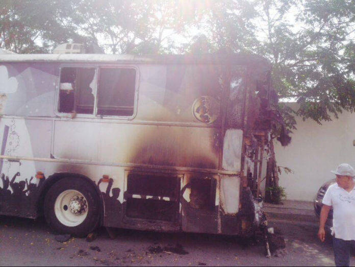 Se incendia el autobús de Grupo Palomo